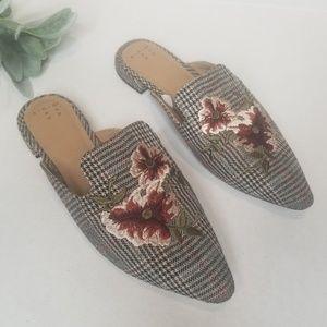 A.N.D. Plaid Floral Mules New 6.5